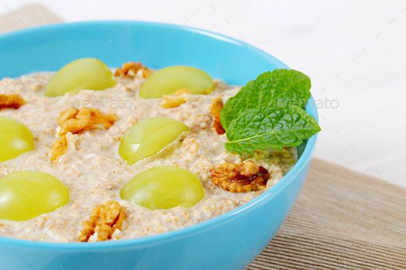 bowl of oatmeal porridge - Stock Photo - Images