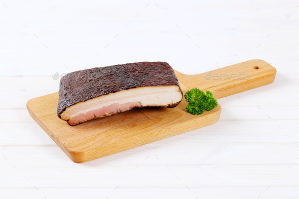 piece of smoked bacon - Stock Photo - Images