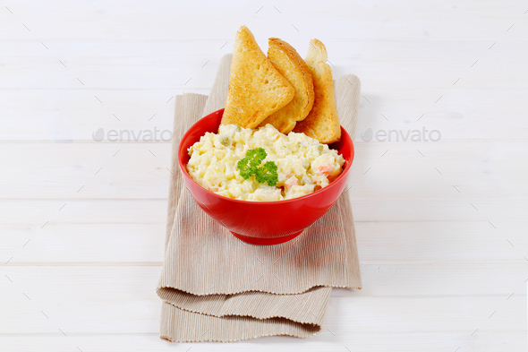 potato salad with toast - Stock Photo - Images