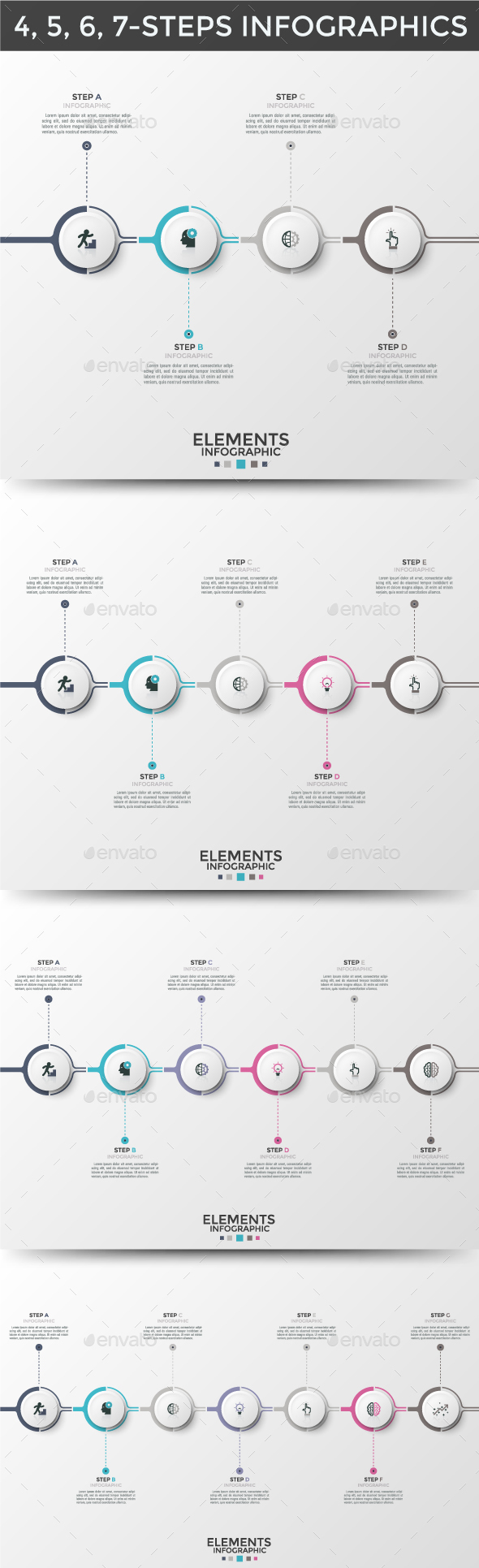 Circle Infographic Timelines (4 Items) - Infographics