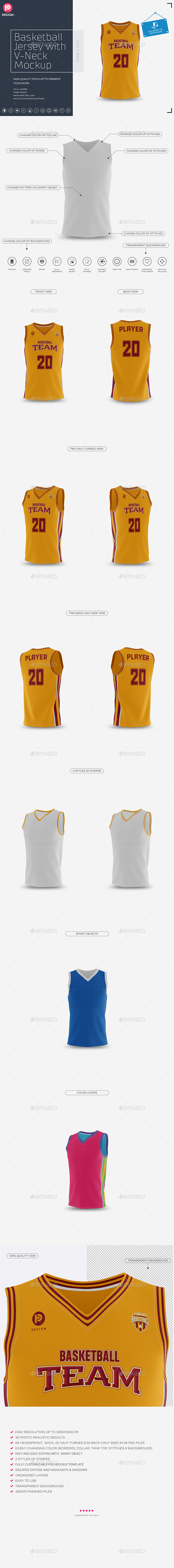 Basketball Jersey with V-Neck Mock-Up - Miscellaneous Apparel