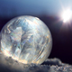 Frozen soap bubble ball on winter snow - PhotoDune Item for Sale
