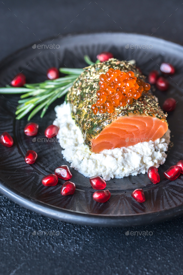 Salmon in mint sauce - Stock Photo - Images
