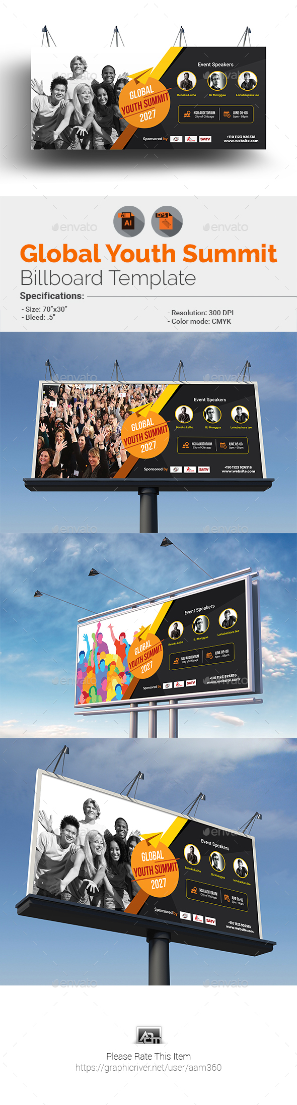 Global Youth Summit Billboard Template - Signage Print Templates
