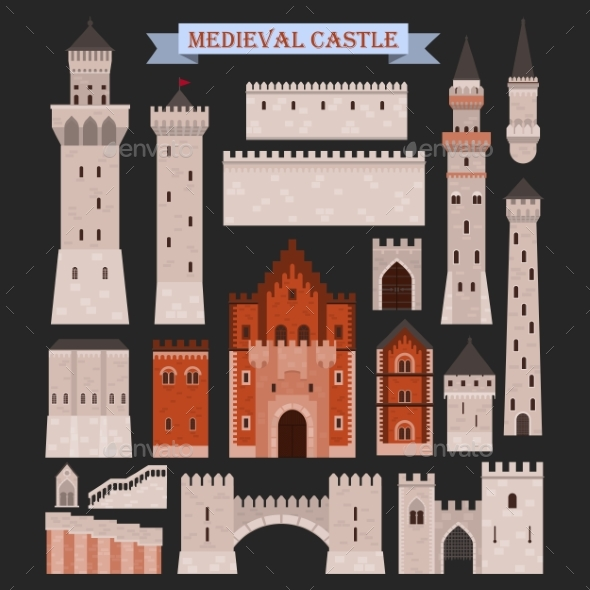Medieval Castle Parts Like Gates, Walls, Towers - Buildings Objects