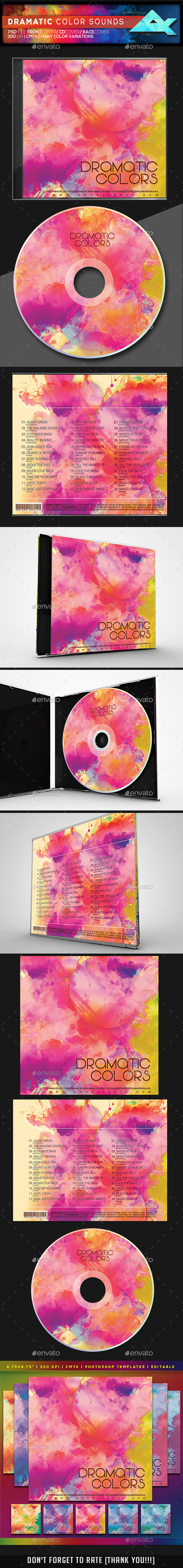 Dramatic Color Sounds CD/DVD Photoshop Template - CD & DVD Artwork Print Templates