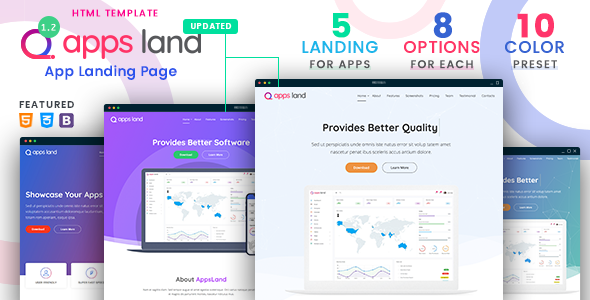 AppsLand - App Landing Page HTML Template