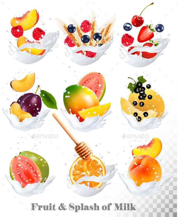 Big Collection Icons Of Fruit In A Milk Splash. - Food Objects