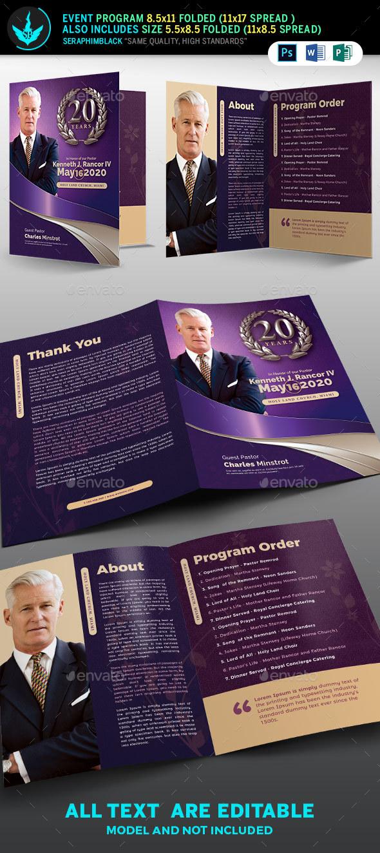 Lavender Pastor's Church Anniversary Program Template - Informational Brochures