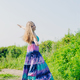 white caucasian blonde girl with colorful long dress - PhotoDune Item for Sale