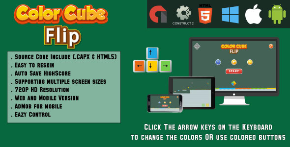 Color Cube Flip - HTML5 Game - (.CAPX & HTML) - CodeCanyon Item for Sale