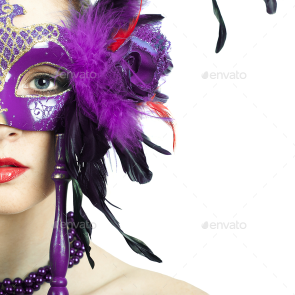 Beauty model woman wearing venetian masquerade carnival mask - Stock Photo - Images