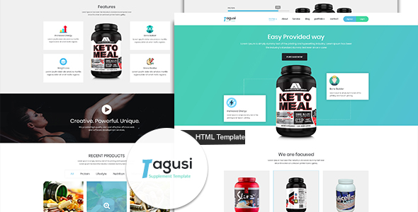 Image of X-Tagusi Health Supplement HTML and Sass Template
