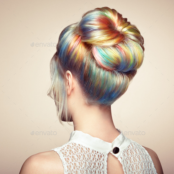 Beauty fashion model girl with colorful dyed hair - Stock Photo - Images