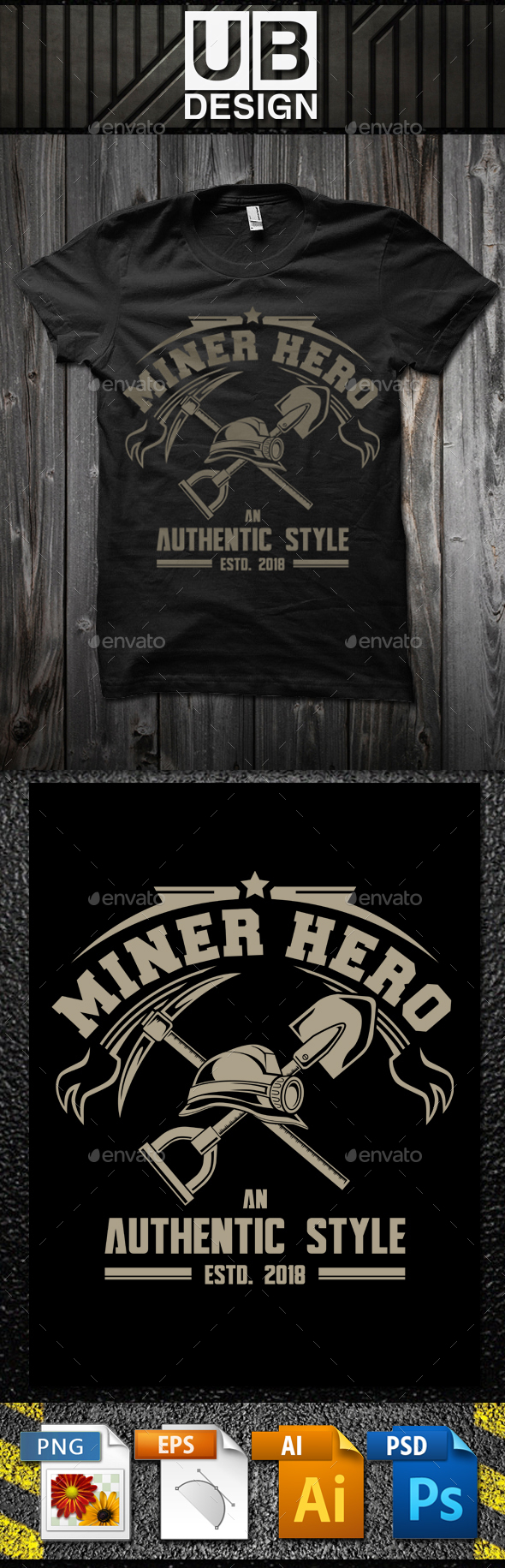 Miner Hero T-Shirt Template - Business T-Shirts
