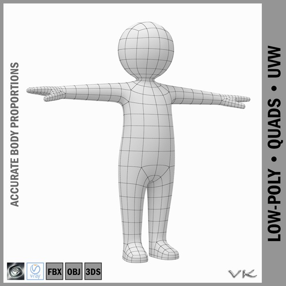 Toddler Stickman Character 3D - 3DOcean Item for Sale