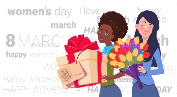Girls Holding Gift Box and Bouquet of Flowers - Miscellaneous Vectors