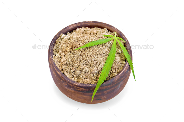 Flour hemp in clay bowl with leaf - Stock Photo - Images