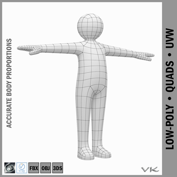 Child Stickman Character 3D Model - 3DOcean Item for Sale