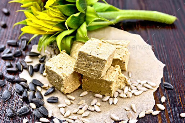 Halva on paper with sunflower - Stock Photo - Images