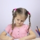 Beautiful Young Girl Draws with Pencils at Home. Education Concept - VideoHive Item for Sale