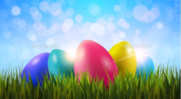 Painted Easter Eggs In Green Grass - Miscellaneous Seasons/Holidays