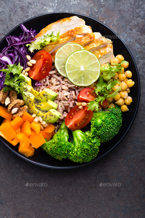Buddha bowl dish with chicken fillet - Stock Photo - Images