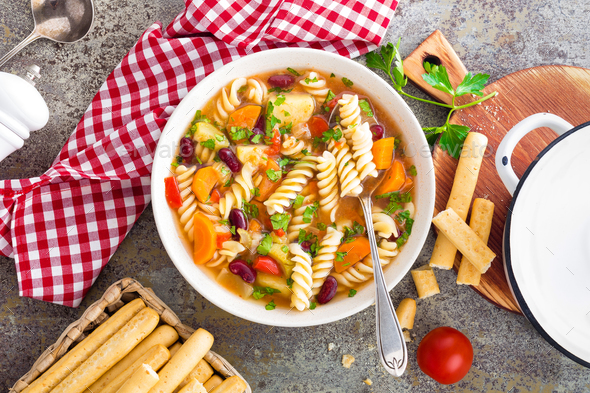 Minestrone soup. Vegetable soup with pasta - Stock Photo - Images