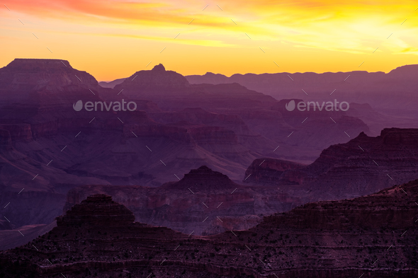 Colorful sunrise landscape view at Grand canyon - Stock Photo - Images