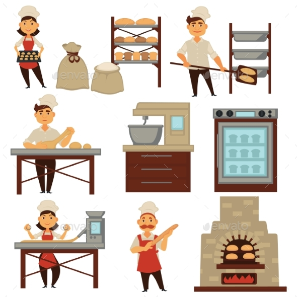 Baker in Bakery Shop Baking Bread Process Vector - People Characters
