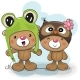 Two Cartoon Bears in a Frog and Owl Hat