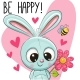Be Happy Greeting Card with Rabbit