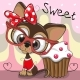 Greeting Card Cute Puppy with Cake - GraphicRiver Item for Sale