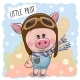 Cute Pig in a Pilot Hat - GraphicRiver Item for Sale