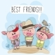 Three Cute Cartoon Pigs and a Bird - GraphicRiver Item for Sale
