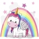 Cute Cartoon Unicorn and Rainbow - GraphicRiver Item for Sale