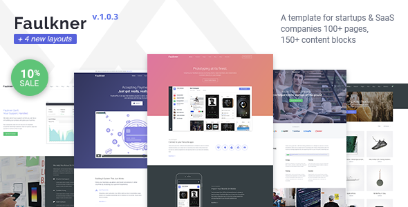 Faulkner - Responsive Startup, SaaS, Web App, Mobile App HTML5 Template