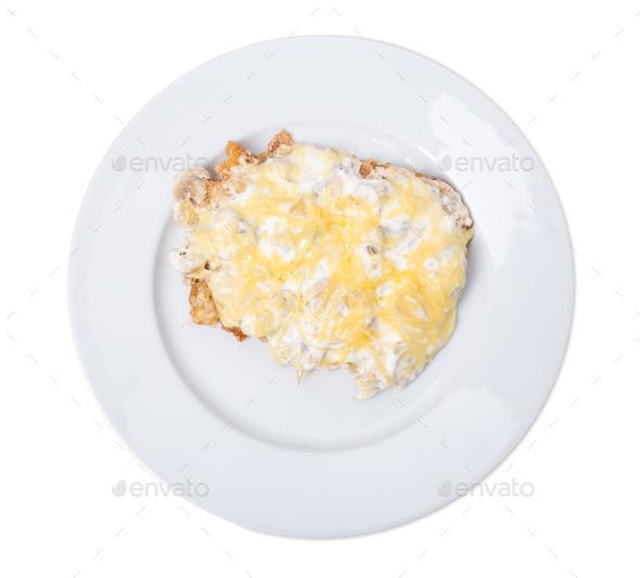Homemade breaded schnitzel. - Stock Photo - Images