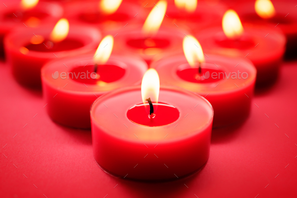 Red candles background - Stock Photo - Images