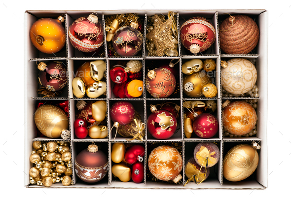 Christmas decorations in a box - Stock Photo - Images