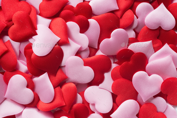Mix of red and pink hearts - Stock Photo - Images