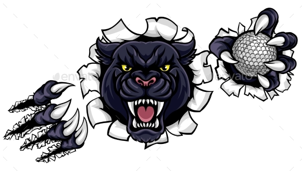 Black Panther Golf Mascot Breaking Background - Sports/Activity Conceptual