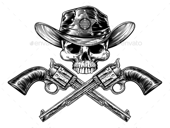 Sheriff Star Badge Cowboy Hat Skull and Pistols - Miscellaneous Vectors