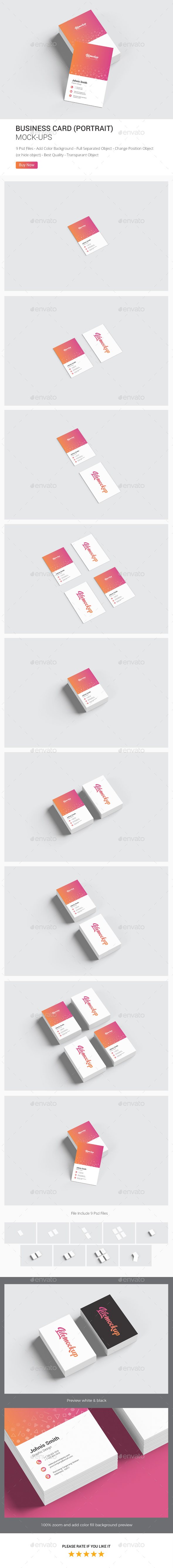 Business Card Portrait Mockup - Business Cards Print