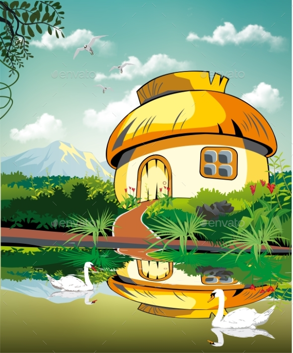 Realistic Landscape-hut at the Pond with Swans - Landscapes Nature