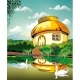 Realistic Landscape-hut at the Pond with Swans - GraphicRiver Item for Sale