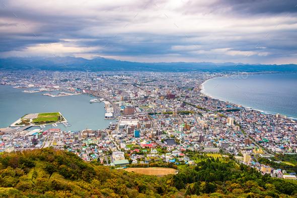 Hakodate, Hokkaido, Japan autumn skyline. - Stock Photo - Images