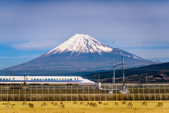 Mt. Fuji and Train - Stock Photo - Images