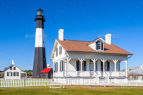 Tybe Island Light House - Stock Photo - Images