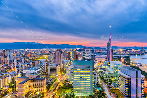 Fukuoka, Japan Skyline - Stock Photo - Images